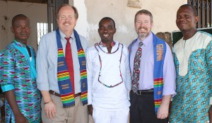 The SDB delegation (l. to r.): Ghana Assistant Pastor Justice Wilson, Danny Lee from Colorado Springs, Ghana Pastor Daniel Agyapong, Clinton Brown of the SDB Missionary Society, and Ghana Conference President Felix Ankrah.