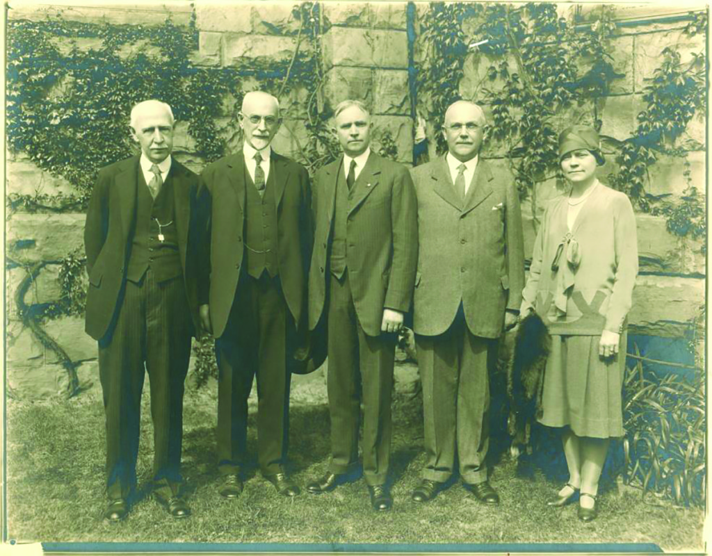 Historical Society Trustees, late 1920s: From left, William M. Stillman, Corliss Fitz Randolph, Asa F. Randolph, Else Fitz Randolph, Ethel L. Titsworth (later Stillman).